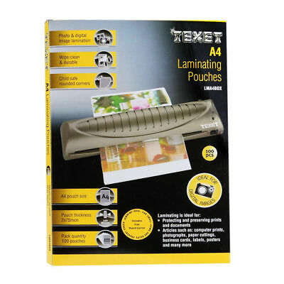 100x Texet A4 Laminating Pouches Laminator Sheets Sleeves Pockets 150 Micron New