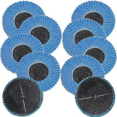 10pc 2 120 Grit Flap Sanding Disc Grinding Roloc Roll Lock Threaded Twist Wheel