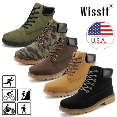 Men's Waterproof Leather Work Boots Water Boots Casual Lace