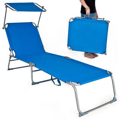 Gartenliege Sonnenliege Strandliege Freizeitliege mit Sonnendach 190cm blau