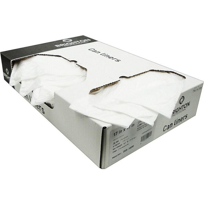 Brighton Trash Bags 4-7 Gallon 17x17 Low Density 0.35 Mil Clear 1000 CT 403704