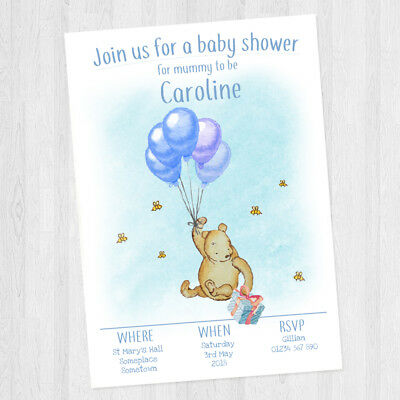 10 x PERSONALISED BABY SHOWER WINNIE THE POOH INVITATIONS BABY BOY + ENVELOPES - Personalized Winnie The Pooh Baby Shower Invitations