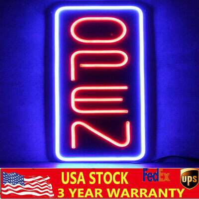 Bright 23.6x11.8 Vertical Neon Open Sign 30w Led Light Bar Business W Adapter