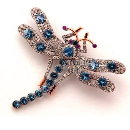 Victorian 3.95Cts Rose Cut Diamond Gemstone Silver Dragonfly Brooch Pin Jewelry