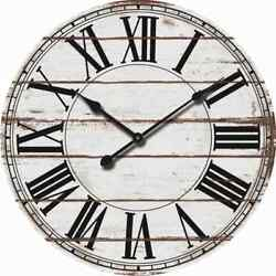 24 Oversized Wood Wall Clock - Rustic Distressed White - Roman Numbers