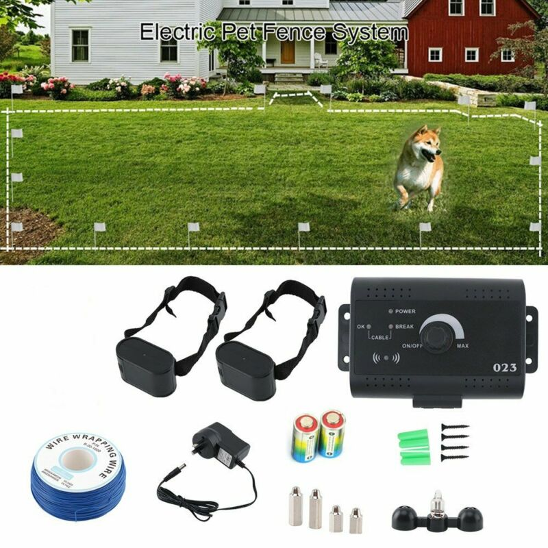 Underground Electric Dog Pet Fence System Waterproof Shock Collars For 2 Dogs