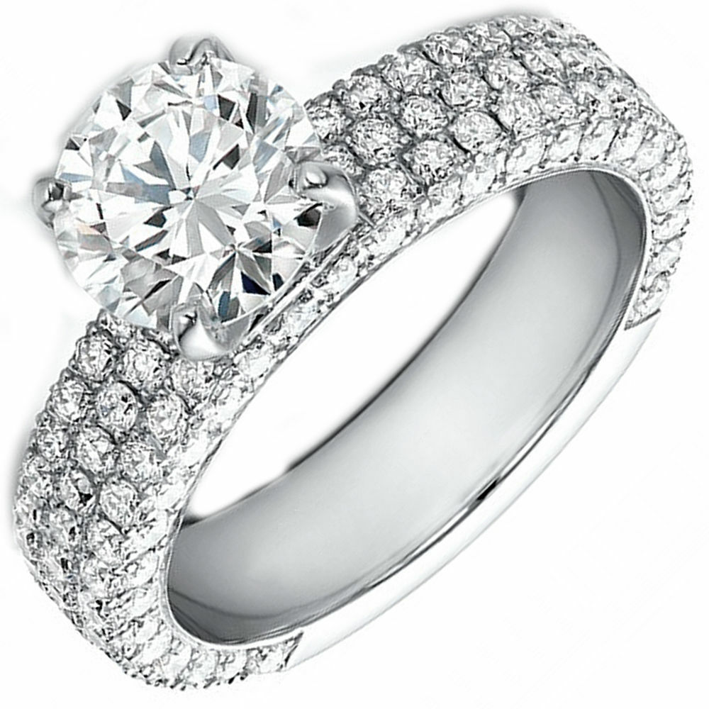 GIA Certified 6.34 Carat Round Brilliant Diamond Engagement Ring 18k White Gold