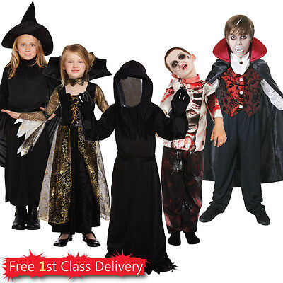 Kids Cheap Halloween Fancy Dress Costumes Boys Girls Zombie Witch Vampire 4-12  - Halloween Zombie Costumes Cheap