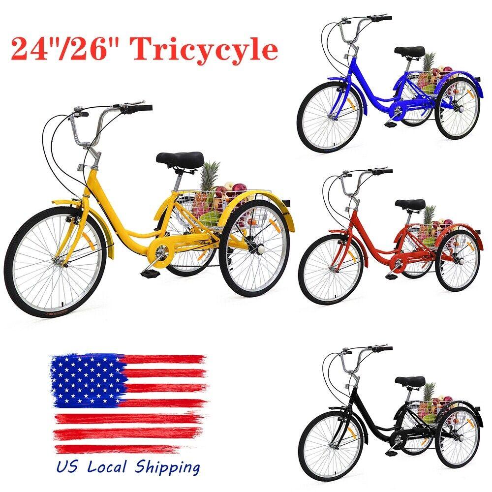 "24""/26"" Adult Women Man Tricycle 3 Wheeled Trike Bicycle w/"