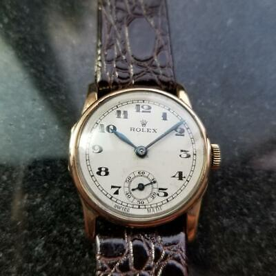 ROLEX 9ct Solid Gold Hand-Wind Military Dress Watch, c.1920s Vintage Swiss LV708