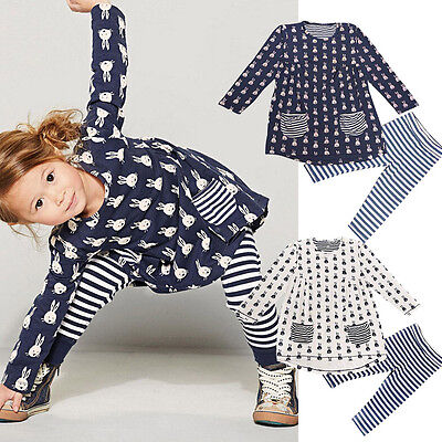 New Kids Baby Girls Toddler Bunny Shirt Dress+Autumn Winter Leggings Set Clothe