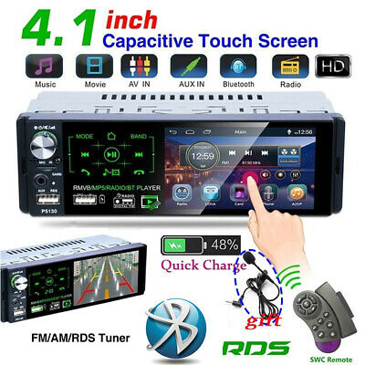 "4.1"" Single 1 DIN Car Stereo Radio RDS AM FM Bluetooth Touch Screen AUX USB TF"