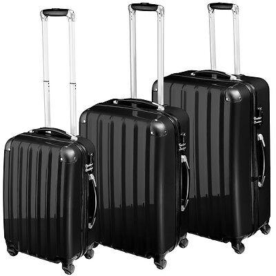 Policarbonato Set di 3 valigie rigida trolley valigie bagaglio a mano borsa nero