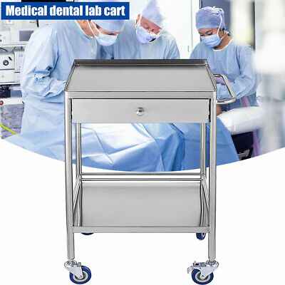 Stainless Steel Lab Trolley Cart One Drawer 2 Layers 1 Drawer Cart Stands