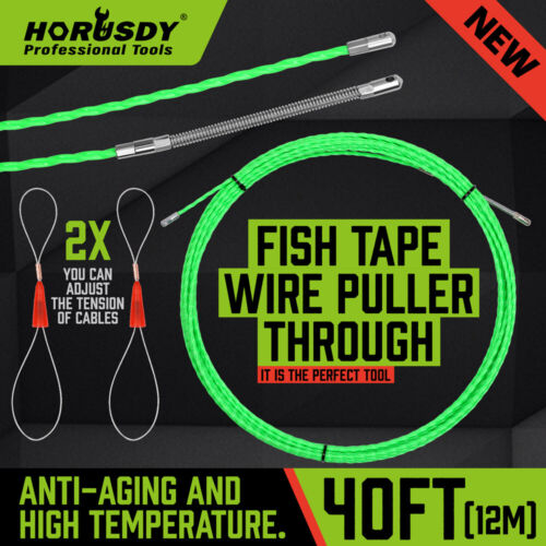 40ft Steel Fish Tape Wire Cable Puller Threader Electrician Electrical Plumber