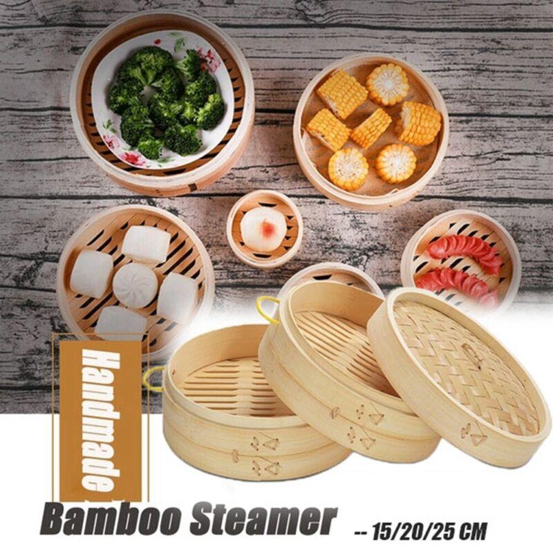 Handmade Natural Bamboo Steamer Basket Round Food Meat Steam