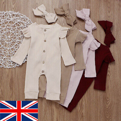 UK Newborn Baby Girl Boy 2Pcs/Set Autumn Clothes Knitted Romper Jumpsuit Outfits