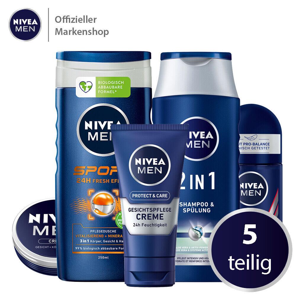 NIVEA MEN Vorteilspack 5tlg. Gesichtscreme Roll-On Pflegedusche Shampoo Männer