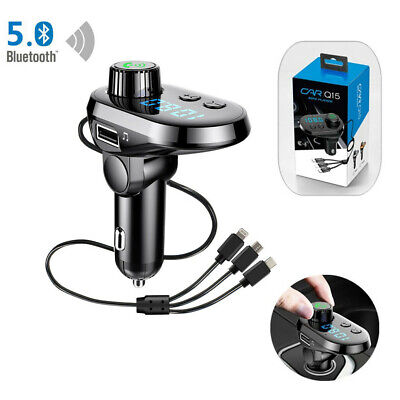 Bluetooth FM Transmitter Wireless AUX MP3 Car Charger For iPhone USB-C Android