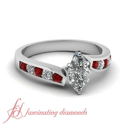 .80 Ct Marquise Cut E-Color Diamond & Red Ruby Channel Set Engagement Ring GIA