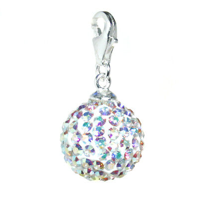 Charms Anhänger mit Kristall Kugel Glitzer 10 mm 925 Sterling Silber Charm Kristall Charms
