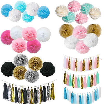 Tissue Paper Pom Poms Diy (Mixed DIY Tissue Paper Tassels Pompoms Pom Poms Garland Wedding Party)