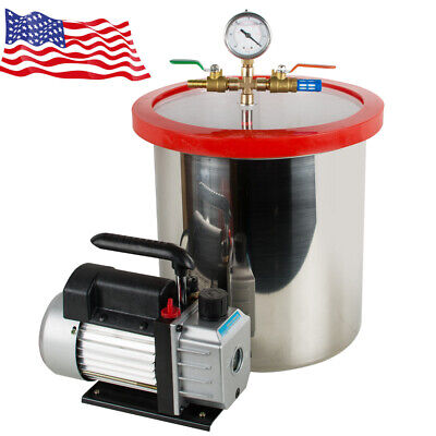 Best 5 Gallon Stainless Steel Vacuum Degassing Chamber And 3 Cfm Pump Hose