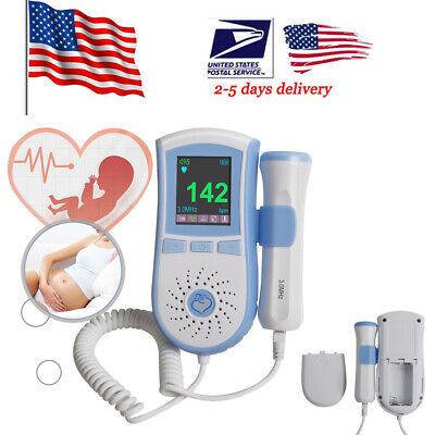 Pocket Fetal Doppler 3mhz Probe Ultrasound Prenatal Baby Heart Rate Monitor Us