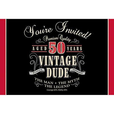 h Invitations Mens 50 Birthday Party Invites With Envelopes  (Vintage 50th Birthday Party)