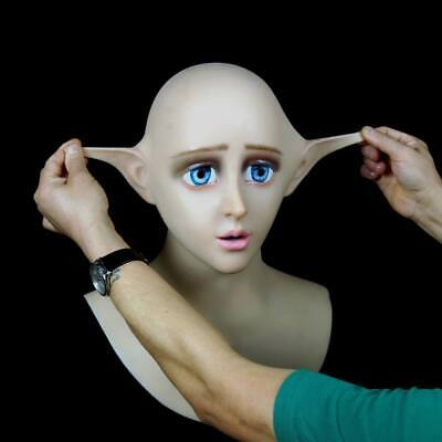 Japanese Doll Makeup Halloween (Elf Doll Beauty Soft Silicone Mask Japanese cosplay elf mask Cosplay makeup)