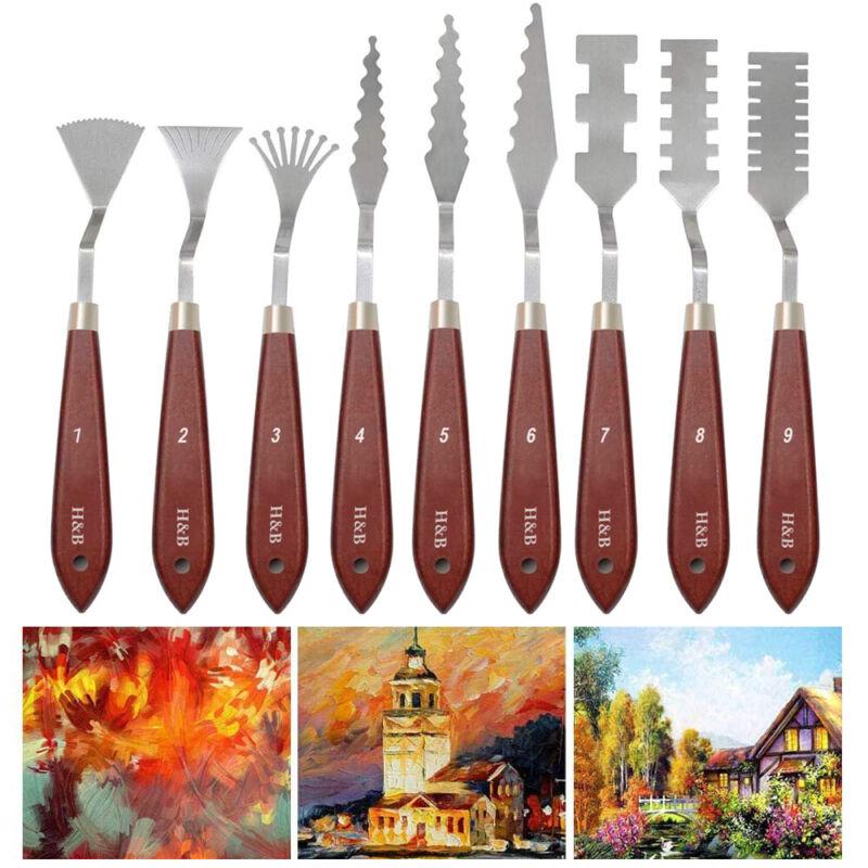 H&B Palette Knife Scraper kit Artist Oil Painting Stainless Steel w/ Wood Handle