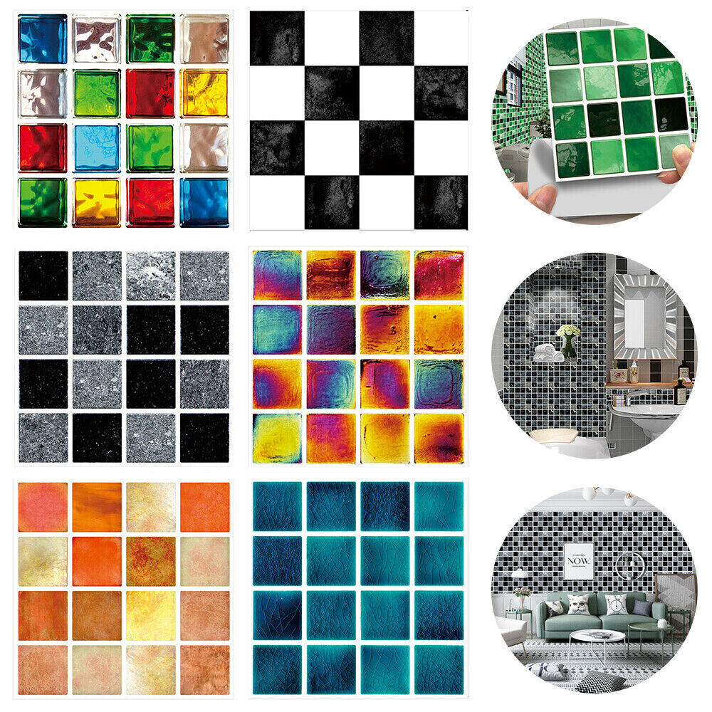 Home Decoration - 30x Kitchen Bathroom Tile Stickers Mosaic Sticker Self-adhesive Wall Home Decor