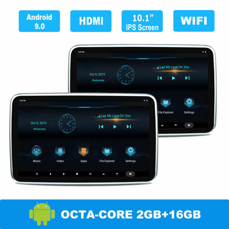 "2PC 10.1""Android 9.0 Car Headrest Monitor Screen FM Bluetooth 1080P WIFI USB TF"