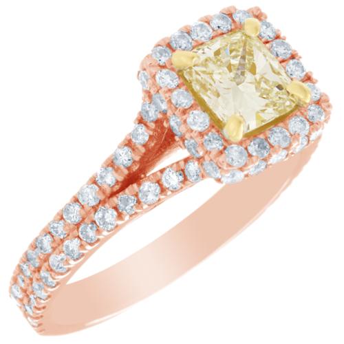 2 Carat GIA Certified Fancy Yellow Cushion Diamond Engagement halo Ring Platinum 7
