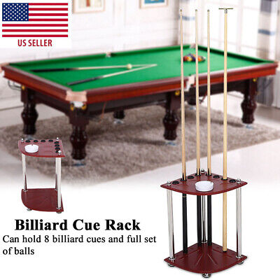 Floor Stand Billiard Cue Holder 8 Holds Pool Cues Stick Holder Rack W/ Ashtray