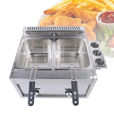 Multifunctional Commercial Gas Fryer Countertop Deep Fryer 2 Basket Stainless
