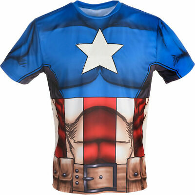 Cycling Halloween Costume (Superhero Captain America  Shirt Cycling Jersey Halloween Costume  Size L/XL)