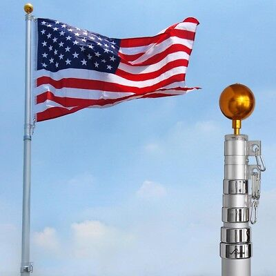 YESHOM™ 25ft Flag Pole Aluminum Telescopic Flagpole Kit US Flag Ball Fly 2 Flags