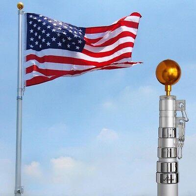YESHOM™ 25ft Flag Pole Aluminum Telescopic Flagpole Kit US Flag Ball Fly 2 Flags