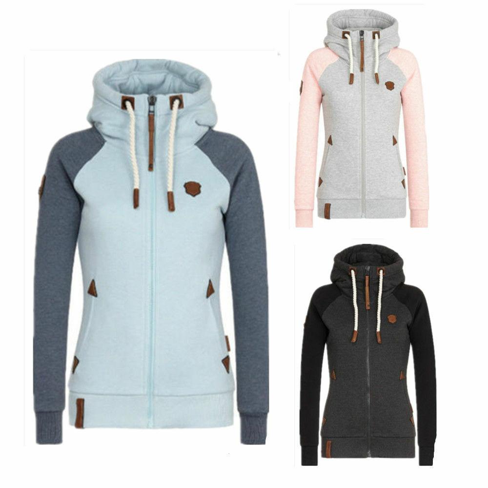New Damen Hochkragen Sweatjacke Kapuzenpullover Jacket Sweater Hoodie Kapuzen