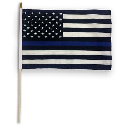 12x18 THIN BLUE LINE USA - Stick Flag Police Blue Lives Matter Hand Held Flag