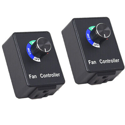 2x Variable Active Speed Controller Electric Motor Rheostat 5a For Brush Fan Sw