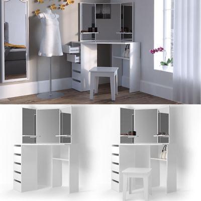 White Corner Dressing Table Woman Make Up Unit Vanity Mirror Bedroom Dresser