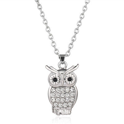 "Owl Charm Pendant Fashionable Necklace - Sparkling Crystal - 17"" Chain"