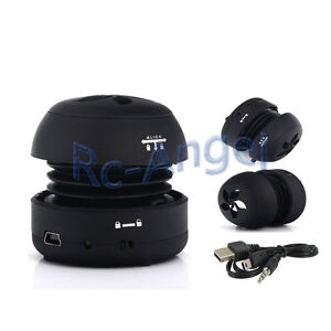Mini Portable Hamburger 3.5mm Speaker For iPod Laptop Tablet iPhone PC MP3 Black