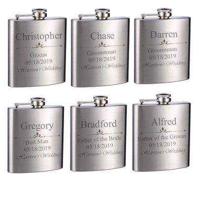 6 Pack Top Shelf Flasks Personalized Custom Engraved 6oz Stainless Steel - Customized Flasks
