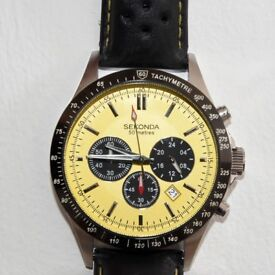 SEKONDA - Men's chronograph watch with yellow face. Model 1395.