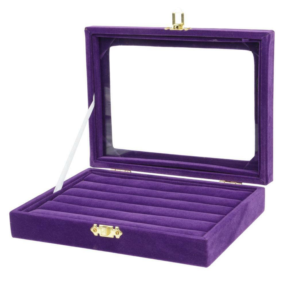 Purple compartment flip up jewelry ring earrings display for Ring case