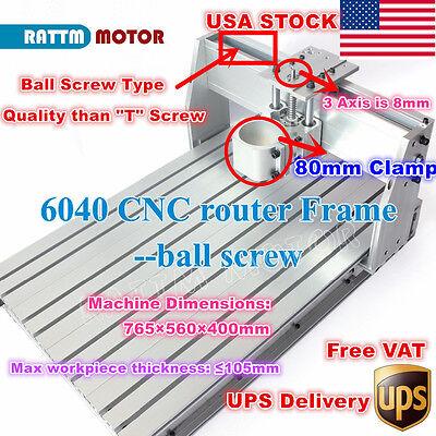 Usa6040 Ball Screw Desktop Cnc Router Engraving Milling Machine Frame Kit 80mm