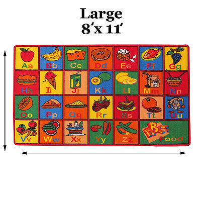 KIDS CHILDREN SCHOOL CLASSROOM ALPHABET FOOD 8' X 11' LARGE EDUCATIONAL GEL RUG